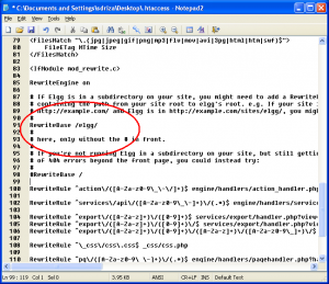 Elgg htaccess file mod rewrite configuration